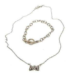 Necklace bow charm and chain bracelet
